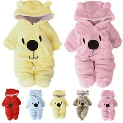 Newborn Baby Winter Warm Clothes Girl Boy Bear Velvet Hooded Jumpsuit Romper $18.99