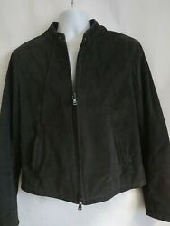 John Varvatos Men's Suede Cowhide Leather Jacket Sz Medium Charcoal Gray GUC