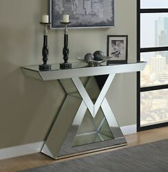 Modern Glam Accent Decor Mirrored Entryway Console Table Silver Clear Mirror $799.99