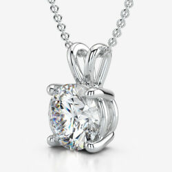 ESTATE ROUND DIAMOND NECKLACE 1.6 CT SOLITAIRE COLORLESS 18 KT WHITE GOLD NEW