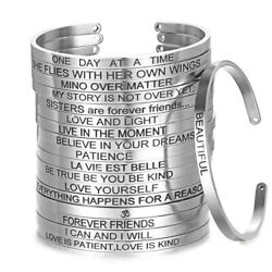 Stainless Steel Engraved Inspirational Letters Cuff Mantra Bangle Bracelet Women $2.29