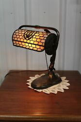 ANTIQUE ADJUSTABLE HANDEL PIANO OR DESK LAMP WITH SLAG GLASS SHADE GREAT PATINA