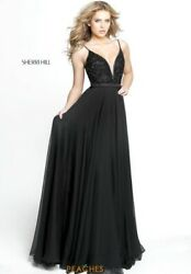 Sherri Hill Long Prom Formal Pageant Black Beaded Dress Size 10 Style 51009