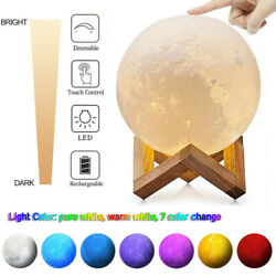 3D Moon Night Light Table Lamp USB Charging Moonlight Touch Color Changing 6