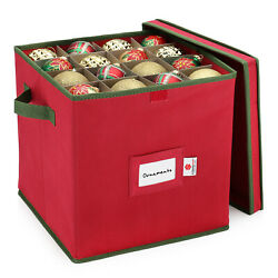 Christmas Ornament Storage Box Fits 64 Balls Xmas Decor Box Organizer Container $13.99