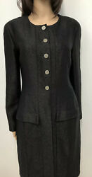 CHANEL 1999 METALLIC WOOL COAT Dress Chanel Buttons Sz.8 (M) 42
