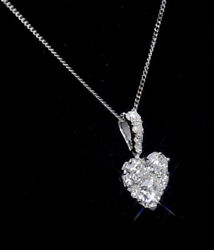 Diamond Heart Pendant 18k White Gold Certificate 16-20