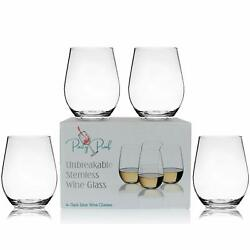 Unbreakable Stemless Wine Glass Dishwasher Safe Reusable Weighted Tritan Plastic $27.99