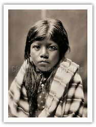 Ah Chee Lo Portrait of a Child - Edward Curtis Sepia Monochrome BW Art Print $28.98