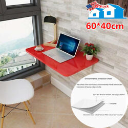 Red Wall Mount Floating Folding Computer Desk Home Office PC Table 60*40cm 200Ib $78.99