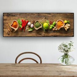 Wall Art Grains Spices Spoon Peppers Kitchen Canvas Painting Food Living Room $26.84