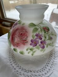 Milk Glass Hand Painted Pink Floral Hurricane Kerosene Oil Student Lamp Shade.