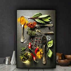 Grains Spices Spoon Peppers Kitchen Canvas Painting Cuadros Living Room Wall Art $13.41
