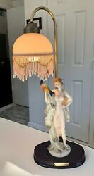 Vintage The Crosa Collection Lady with Peacock Table Lamp with Bead Shade