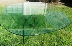 COOL VINTAGE MID CENTURY MODERN MILO BAUGHMAN? GLASS BRASS COFFEE TABLE MCM