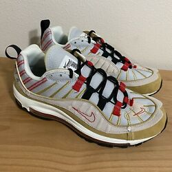 Nike Air Max 98 Inside Out Beige Tan Red Size 8 Under Retail $100.00
