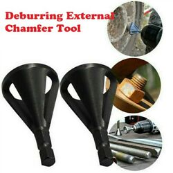 2pcs Stainless Steel Remove Burr Drill Bit Tools Deburring External Chamfer Tool $3.39