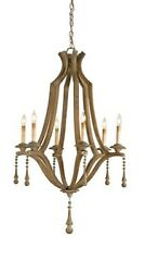 Currey & Company Simplicity Chandelier Washed Wood