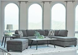 Modern Living Room 2 Piece Sofa Sectional with Reversible Chaise Gray Fabric $1599.99