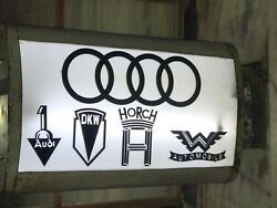 RARE AUTO UNION AUDI DKW HORCH WANDERER VINTAGE CAR DEALERSHIP LIGHT UP BOX SIGN