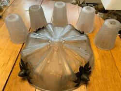 Muller Freres Art Deco Frosted Glass Chandelier Shades 6 Pieces Nice $1499.99