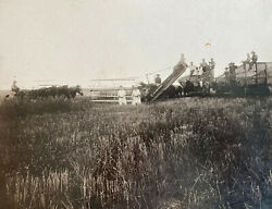 Antique Photograph Hay Threshing Farm Ag Horses Champion Equipment $29.99