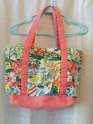 Hawaiian Beach Theme Over The Shoulder Womens Multicolored Zippered Tote Bag... $12.02