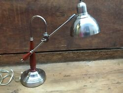RARE Vintage Desk Table Lamp Wood Metal Boom Swing Arm 360° Articulated Task MCM $375.00