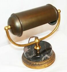 Antique vintage brass lamp marble base desk piano bankers task rolling roll top