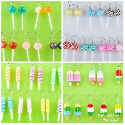 Lollipop Earrings Cute Party Sweets Novelty Dangle Food Candy Popsicle Keyring GBP 3.99