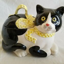 Vintage 1983 Fitz amp; Floyd RARE Ribbon Cat Covered Candy Dish Kitten $25.49