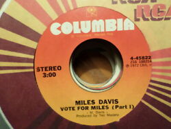 COLUMBIA 45 RECORD MILES DAVIS VOTE FOR MILES PART 1 AND 2 VG JAZZ FUSION $14.99