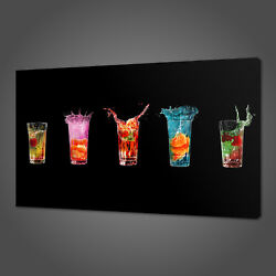 COLOURFUL DRINKS CANVAS PRINT PICTURE WALL ART KITCHEN DECOR FREE DELOVERY GBP 24.99