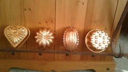 4 COPPER Kitchen Molds Used In Great Condition $24.95