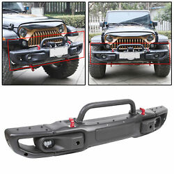 For 2018 20 Jeep Wrangler JL 3 Piece Steel Rubicon Front Bumper w LED Fog Lights $435.00