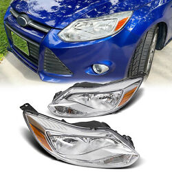 For 2012 2014 Ford Focus Headlights Head Lamps Left Right Pair Driver Passenger $118.55