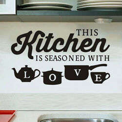Removable THIS KITCHEN IS SEASONED WITH LOVE Wall Sticker Decal Kitchen Decor $4.74