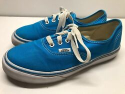 VANS Off The Wall Girls Boys Kids Bright Blue amp; white Shoes EUC — size 3.5Y $7.49