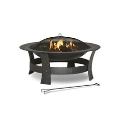 Wood-Burning Fire Pit 35-in Round Bowl Black Steel Spark Screen wCover New
