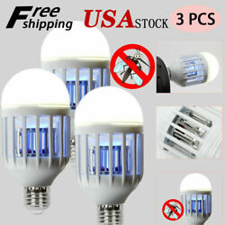 3pcs Mosquito LED Zapper Light Bulbs Indoor Fly Bug Killer Lamp Outdoor 15W USA $18.23