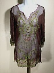 Krista Lee M Brown Embroidered Embellished Sheer Beach Pool Cover Up Vacation $14.88
