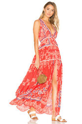 Rococo Sand Deep Maxi Dress in Coral Red Size XS $168.00