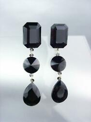 GLITZY Black Onyx Crystals Chandelier Dangle Earrings PAGEANT PROM QUEEN EBK0753