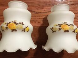 Vintage Yellow Rose Glass Chandelier Shades 2 $33.00