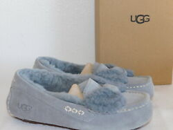 NEW NIB WOMENS 5 GEYSER GREY UGG ANSLEY FUR BOW SUEDE MOCCASIN LOAFER SLIPPERS $71.95