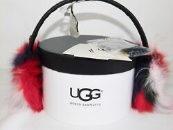 NEW O S BLACK M UGG FAUX FUR PATCHWORK WIRED SPEAKER TECHNOLOGY EARMUFFS LEATHER $42.46