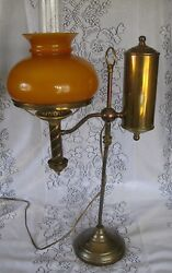 Victorian Antique Student brass lamp with amber glass shade $255.00