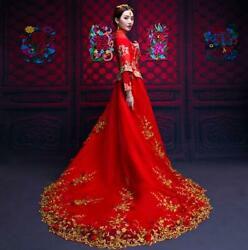 Chinese Wedding Bride Womens Trailing Dress Embroidery Red Banquet Slim Elegant $142.89