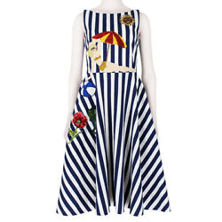 Dolce & Gabbana Runway Collection Striped Embroidered Beach Scene Dress IT40 UK8