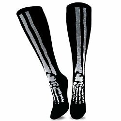 TeeHee Novelty Halloween Skeleton Fun Socks 9 11 Knee High $6.99